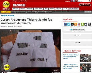 Cusco: death threats against Thierry Jamin