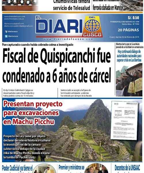 03/23/2019 – Bill authorizing works of excavation in Machu Picchu