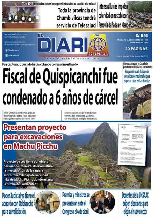 26/03/2019 – Projet de loi pour autoriser des travaux d'excavation à Machu Picchu